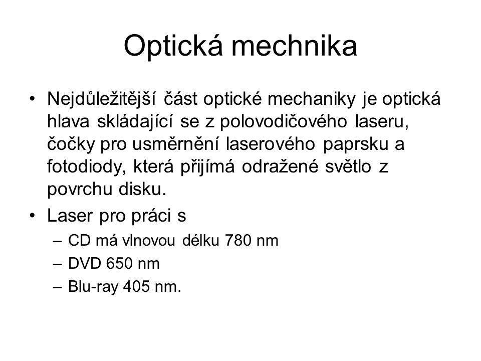 Optická mechnika Nejdůležitější část optické mechaniky je optická hlava skládající se z polovodičového laseru, čočky pro usměrnění laserového paprsku
