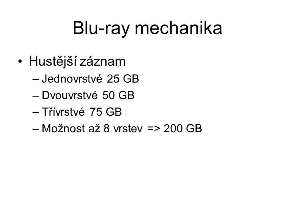 Blu-ray mechanika Hustější záznam –Jednovrstvé 25 GB –Dvouvrstvé 50 GB –Třívrstvé 75 GB –Možnost až 8 vrstev => 200 GB