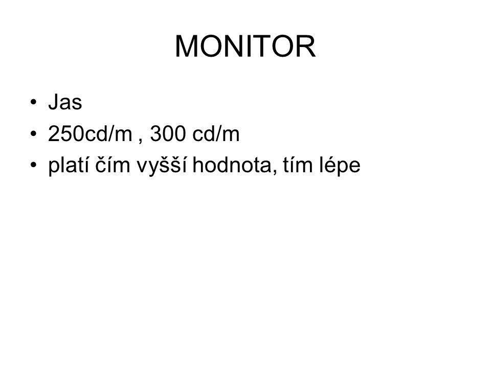 MONITOR Jas 250cd/m, 300 cd/m platí čím vyšší hodnota, tím lépe
