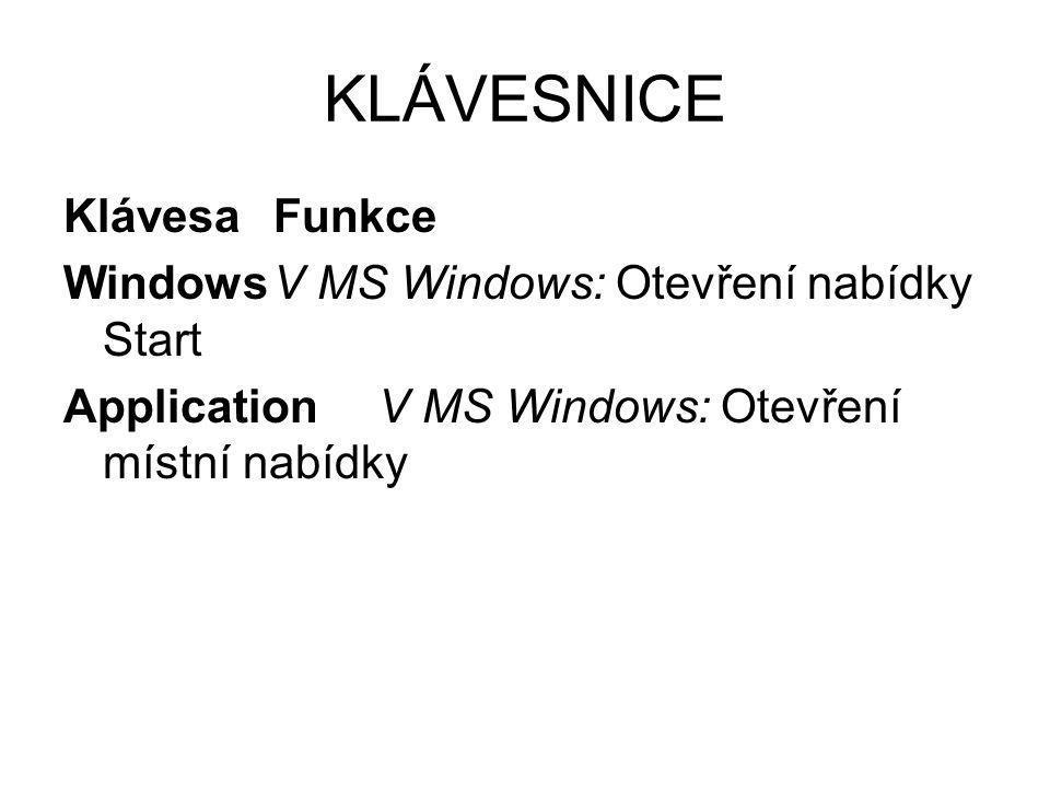 KLÁVESNICE KlávesaFunkce WindowsV MS Windows: Otevření nabídky Start ApplicationV MS Windows: Otevření místní nabídky