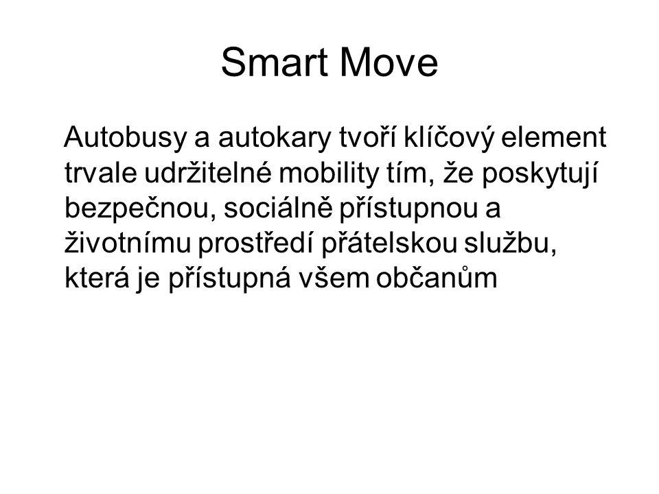Smart Move Autobusy a autokary tvoří klíčový element trvale udržitelné mobility tím, že poskytují bezpečnou, sociálně přístupnou a životnímu prostředí přátelskou službu, která je přístupná všem občanům