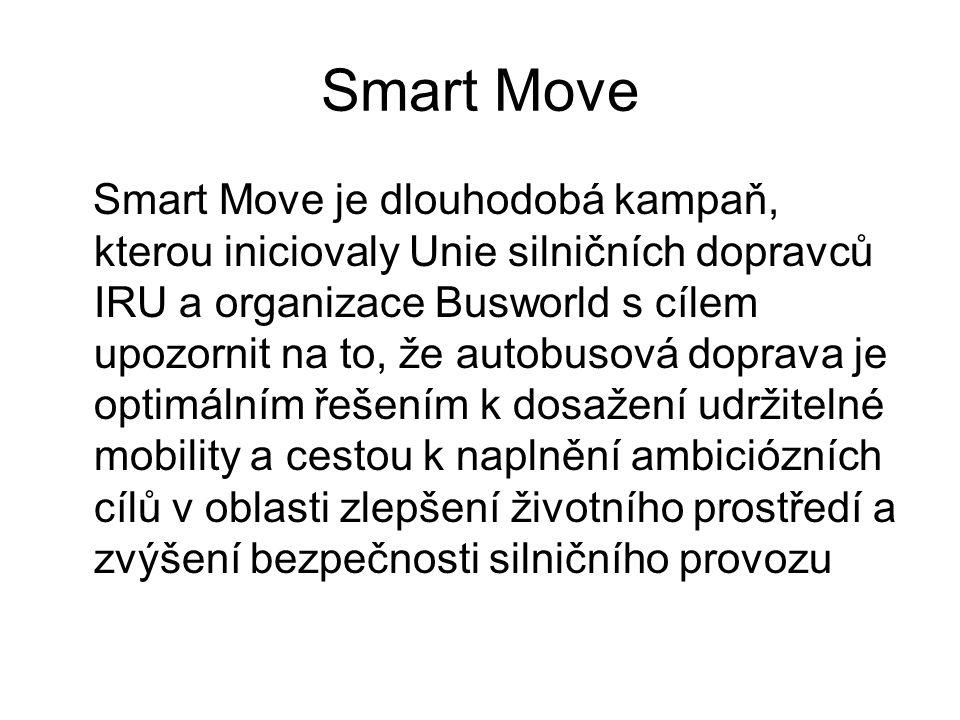 Smart Move Smart Move je dlouhodobá kampaň, kterou iniciovaly Unie silničních dopravců IRU a organizace Busworld s cílem upozornit na to, že autobusová doprava je optimálním řešením k dosažení udržitelné mobility a cestou k naplnění ambiciózních cílů v oblasti zlepšení životního prostředí a zvýšení bezpečnosti silničního provozu