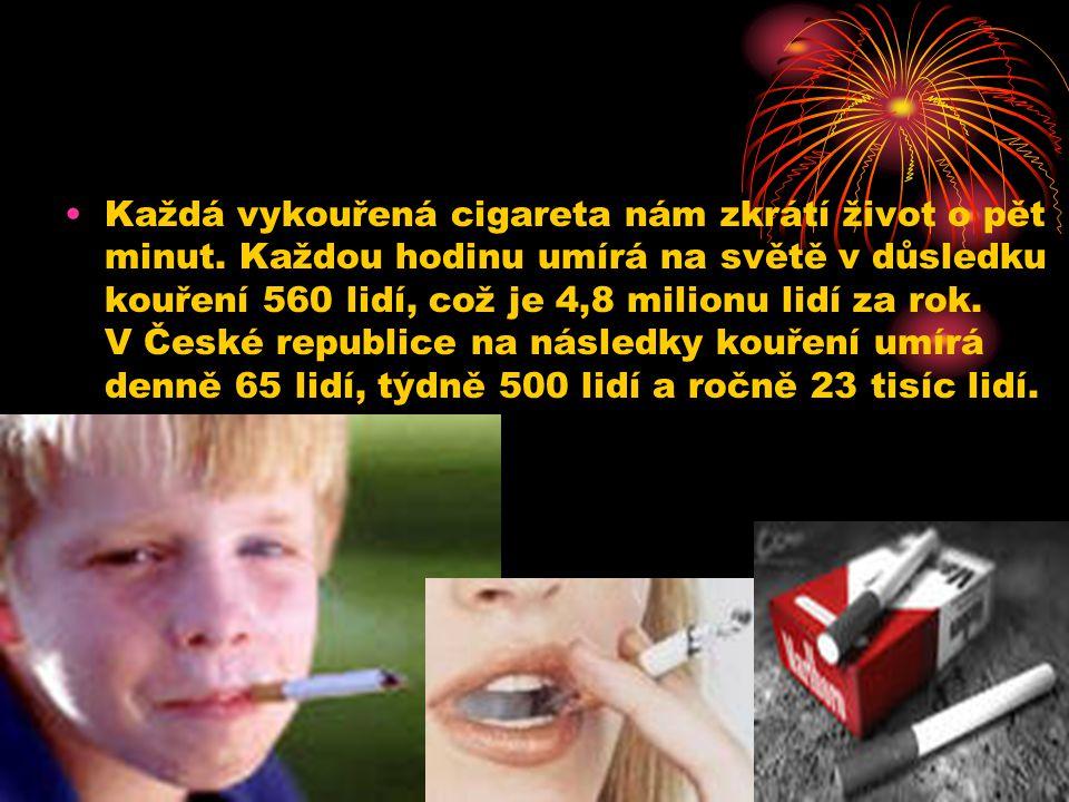 Každá vykouřená cigareta nám zkrátí život o pět minut. Každou hodinu umírá na světě v důsledku kouření 560 lidí, což je 4,8 milionu lidí za rok. V Čes