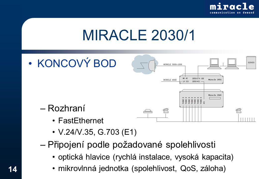 14 MIRACLE 2030/1 KONCOVÝ BOD –Rozhraní FastEthernet V.24/V.35, G.703 (E1) –Připojení podle požadované spolehlivosti optická hlavice (rychlá instalace