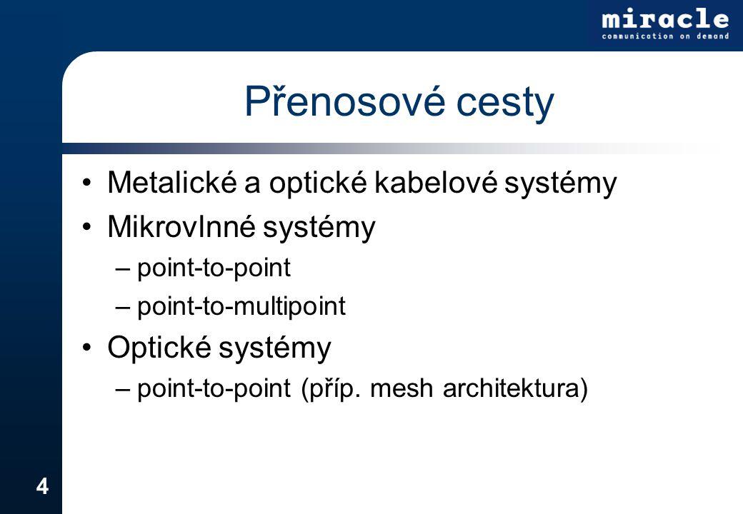 4 Přenosové cesty Metalické a optické kabelové systémy Mikrovlnné systémy –point-to-point –point-to-multipoint Optické systémy –point-to-point (příp.
