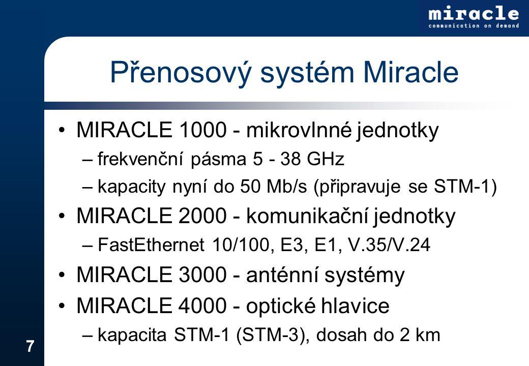 7 MIRACLE 1000 - mikrovlnné jednotky –frekvenční pásma 5 - 38 GHz –kapacity nyní do 50 Mb/s (připravuje se STM-1) MIRACLE 2000 - komunikační jednotky