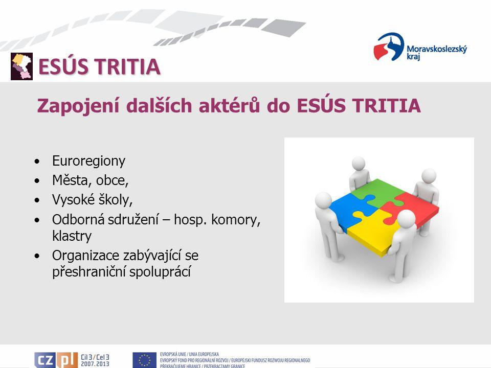 ESÚS TRITIA Zapojení dalších aktérů do ESÚS TRITIA Euroregiony Města, obce, Vysoké školy, Odborná sdružení – hosp.