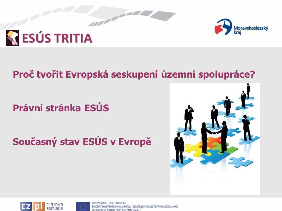 ESÚS TRITIA Projekty podporující vznik ESÚS Zdroj finančních prostředků: projekty v OPPS ČR-PR, ČR-SR a PR-SR (tři projekty) Cíle projektů: podpora přeshraniční spolupráce v oblasti rozvoje vztahů orgánů veřejné správy vypracování společné přeshraniční strategie zajištění fungování sekretariátu ESÚS TRITIA v budoucnu Náklady projektů: přesahují částku 600 000 EUR