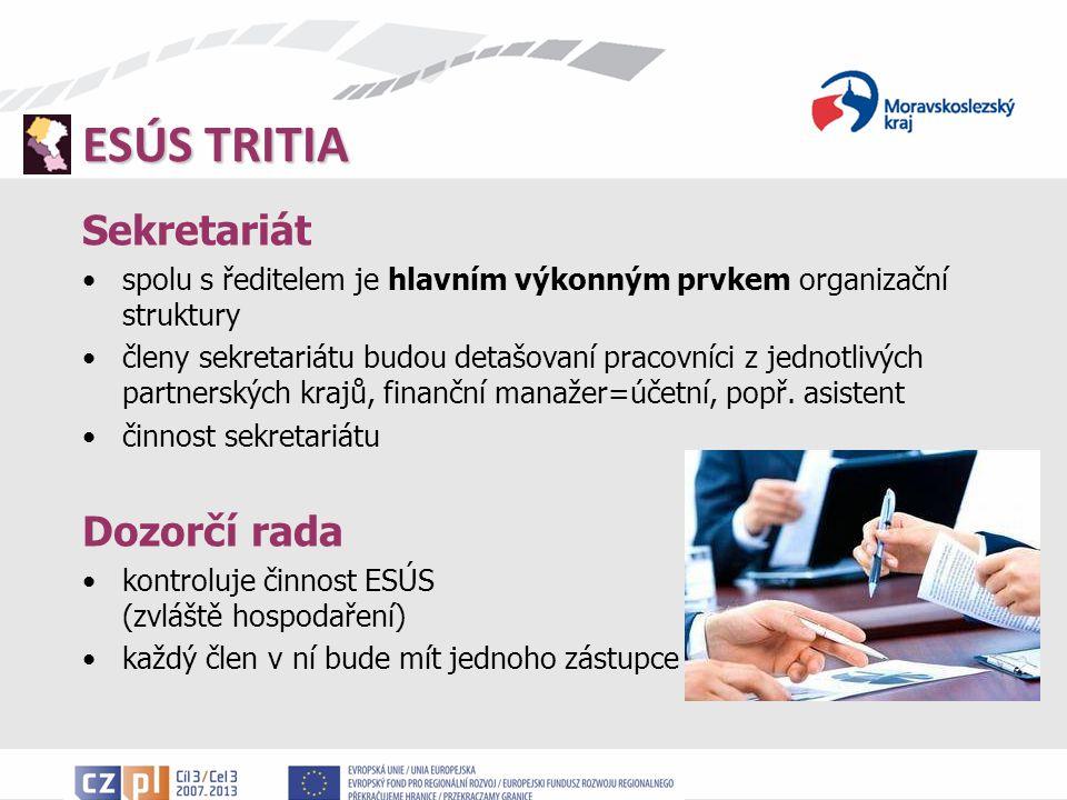 ESÚS TRITIA Sekretariát spolu s ředitelem je hlavním výkonným prvkem organizační struktury členy sekretariátu budou detašovaní pracovníci z jednotlivých partnerských krajů, finanční manažer=účetní, popř.