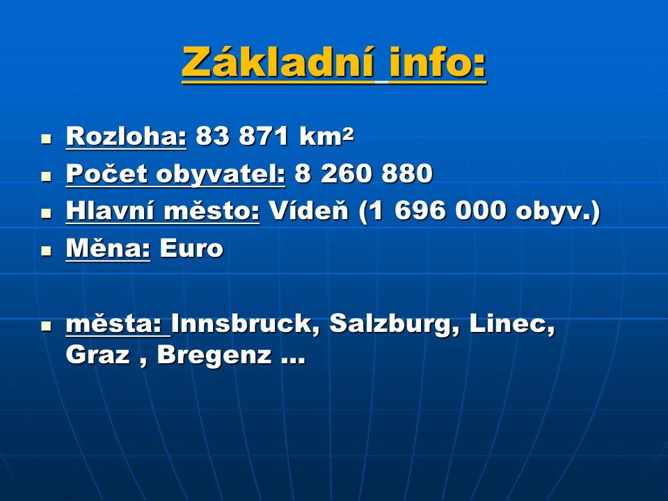 Základní info: Rozloha: 83 871 km 2 Rozloha: 83 871 km 2 Počet obyvatel: 8 260 880 Počet obyvatel: 8 260 880 Hlavní město: Vídeň (1 696 000 obyv.) Hlavní město: Vídeň (1 696 000 obyv.) Měna: Euro Měna: Euro města: Innsbruck, Salzburg, Linec, Graz, Bregenz … města: Innsbruck, Salzburg, Linec, Graz, Bregenz …