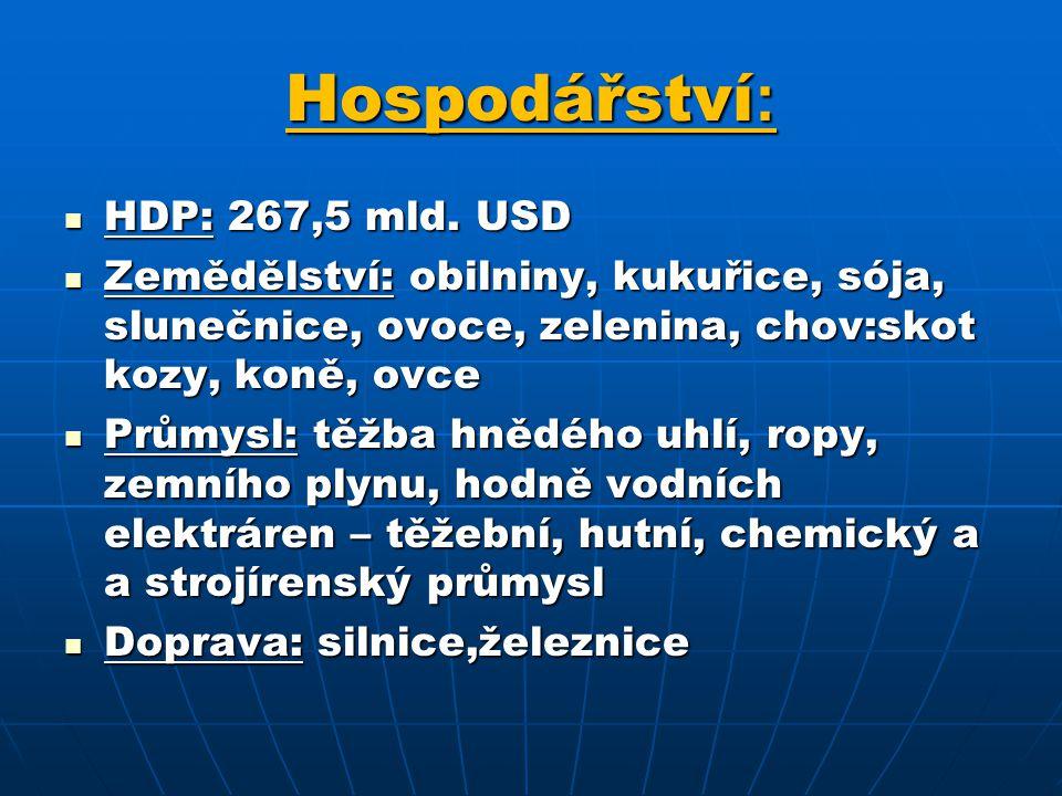 Hospodářství : HDP: 267,5 mld.USD HDP: 267,5 mld.