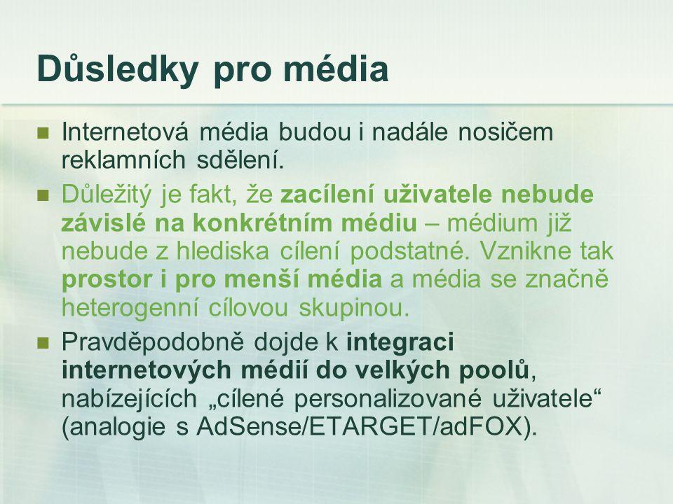 Důsledky pro média Internetová média budou i nadále nosičem reklamních sdělení.
