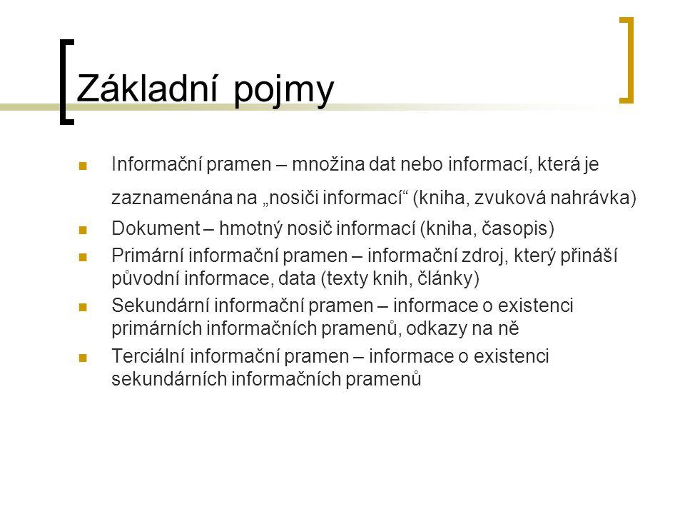 """Základní pojmy Informační pramen – množina dat nebo informací, která je zaznamenána na """"nosiči informací (kniha, zvuková nahrávka) Dokument – hmotný nosič informací (kniha, časopis) Primární informační pramen – informační zdroj, který přináší původní informace, data (texty knih, články) Sekundární informační pramen – informace o existenci primárních informačních pramenů, odkazy na ně Terciální informační pramen – informace o existenci sekundárních informačních pramenů"""