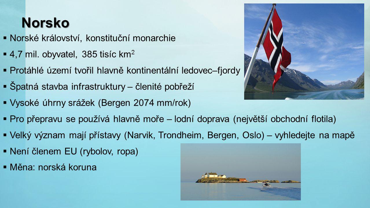 Norsko  Norské království, konstituční monarchie  4,7 mil. obyvatel, 385 tisíc km 2  Protáhlé území tvořil hlavně kontinentální ledovec–fjordy  Šp