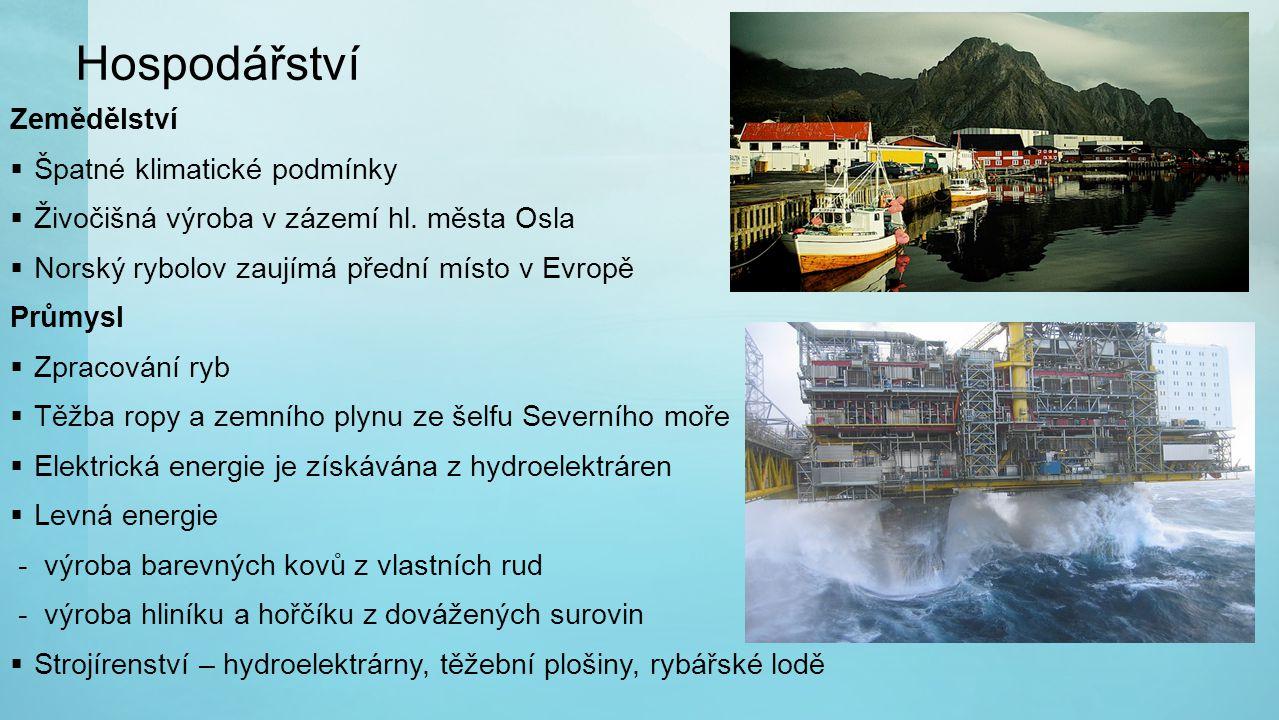Hospodářství Zemědělství  Špatné klimatické podmínky  Živočišná výroba v zázemí hl. města Osla  Norský rybolov zaujímá přední místo v Evropě Průmys