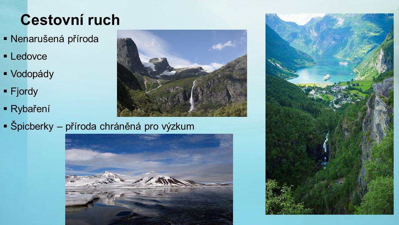 Cestovní ruch  Nenarušená příroda  Ledovce  Vodopády  Fjordy  Rybaření  Špicberky – příroda chráněná pro výzkum