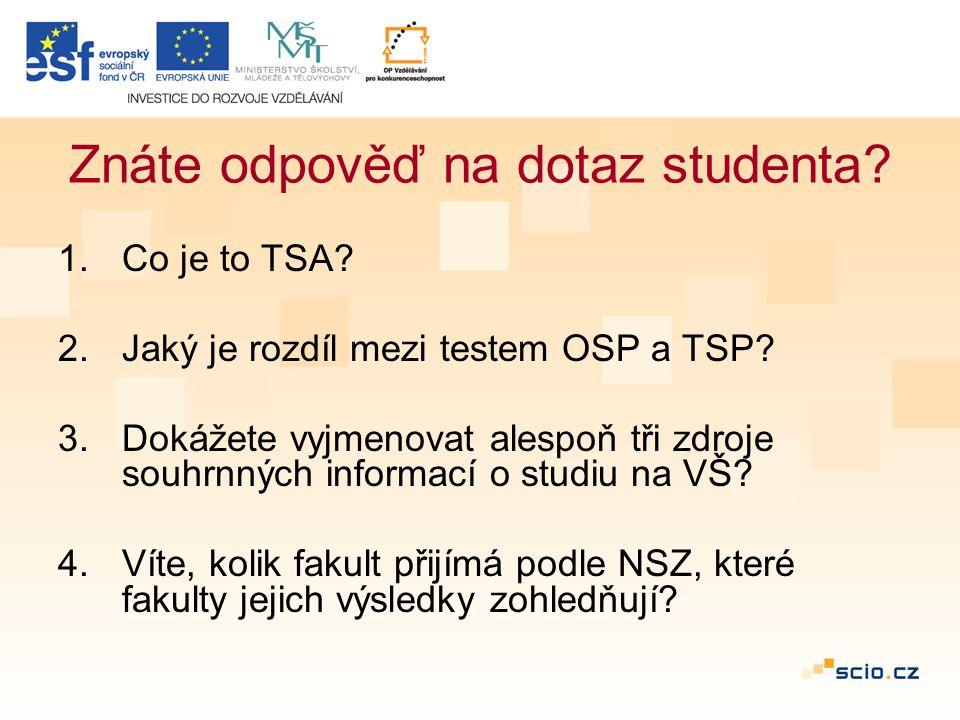 Znáte odpověď na dotaz studenta. 1.Co je to TSA. 2.Jaký je rozdíl mezi testem OSP a TSP.