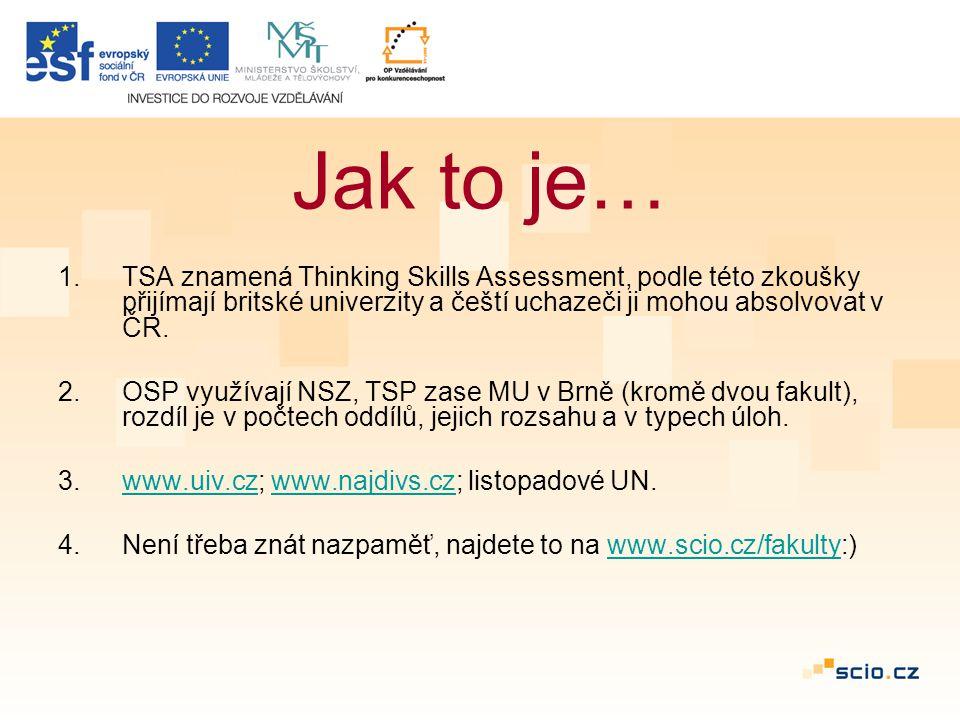 1.TSA znamená Thinking Skills Assessment, podle této zkoušky přijímají britské univerzity a čeští uchazeči ji mohou absolvovat v ČR.