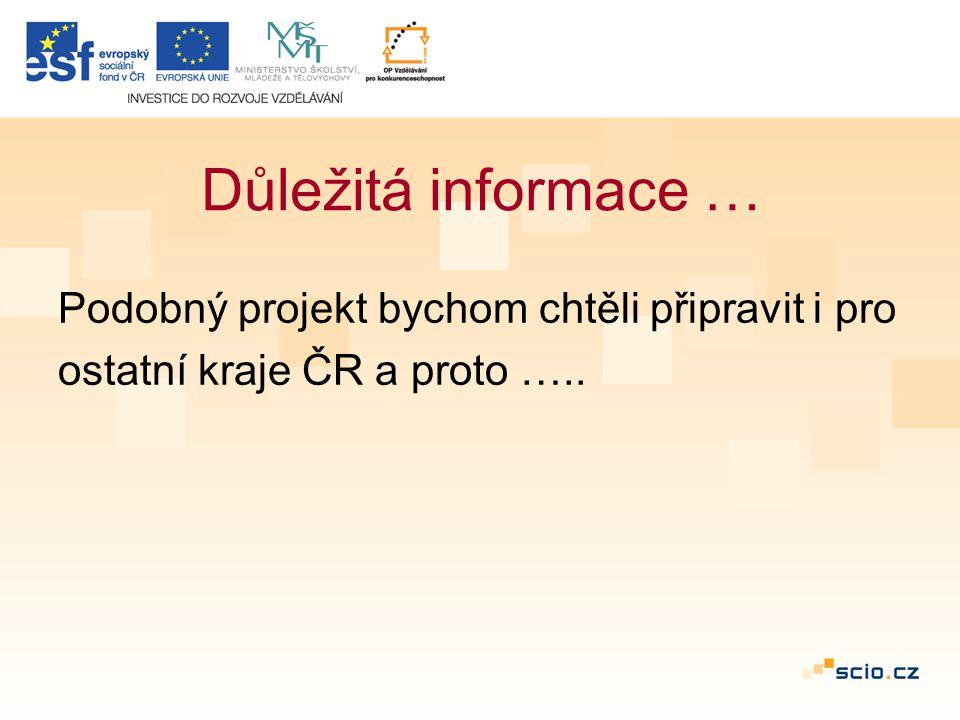 Důležitá informace … Podobný projekt bychom chtěli připravit i pro ostatní kraje ČR a proto …..
