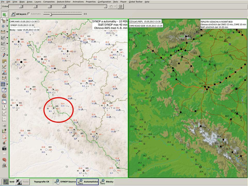 Nad Bavorskem hřebínek, v něm nižší Td v Bavorsku i na západě Čech Odpoledne dobře načasovaná SF, ale postup do suchého prostředí Ovšem Klatovsko, Příbramsko a Strakonicko s intenzivním vývojem, krupobitím, silným větrem