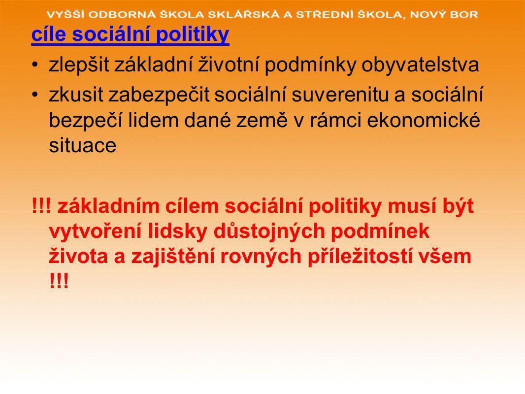 cíle sociální politiky zlepšit základní životní podmínky obyvatelstva zkusit zabezpečit sociální suverenitu a sociální bezpečí lidem dané země v rámci ekonomické situace !!.