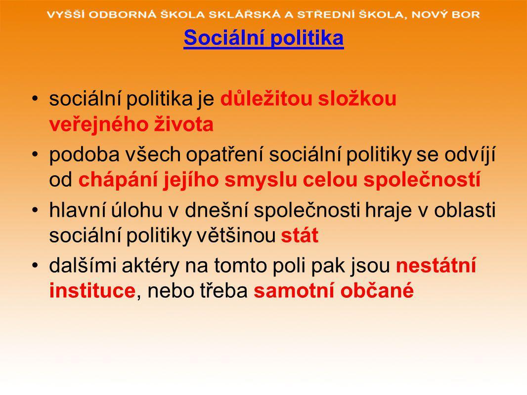 Sociální politika sociální politika je důležitou složkou veřejného života podoba všech opatření sociální politiky se odvíjí od chápání jejího smyslu celou společností hlavní úlohu v dnešní společnosti hraje v oblasti sociální politiky většinou stát dalšími aktéry na tomto poli pak jsou nestátní instituce, nebo třeba samotní občané