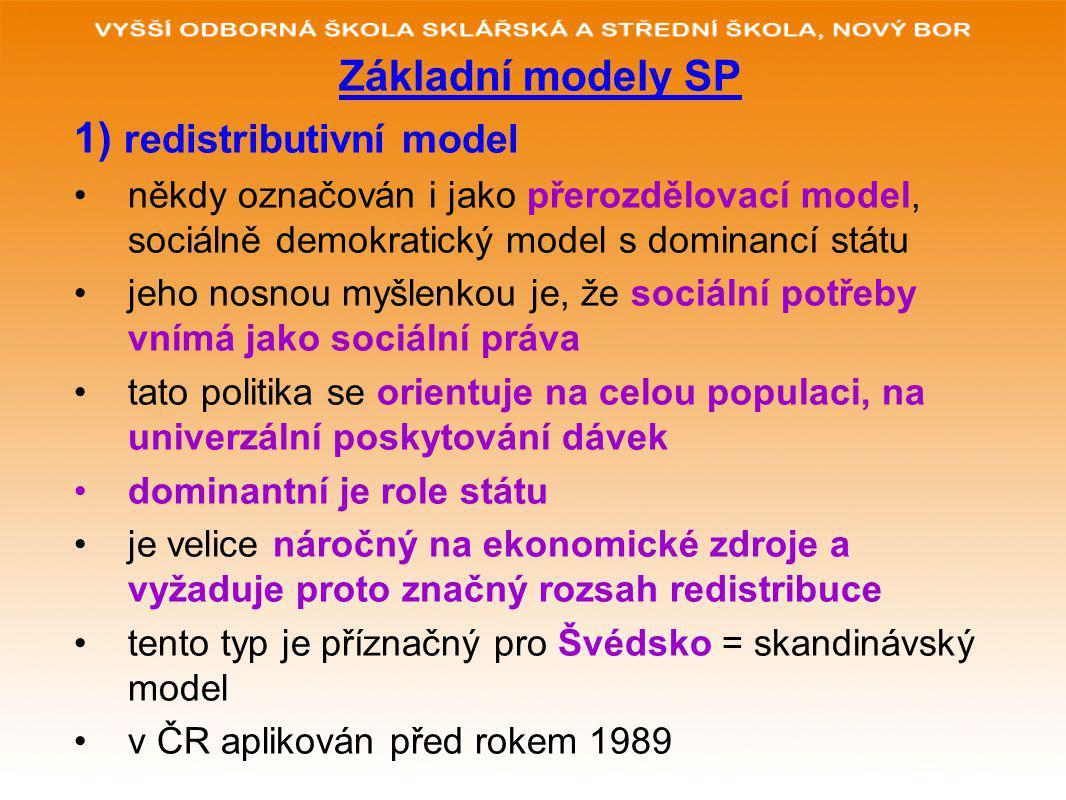 Základní modely SP 1) redistributivní model někdy označován i jako přerozdělovací model, sociálně demokratický model s dominancí státu jeho nosnou myšlenkou je, že sociální potřeby vnímá jako sociální práva tato politika se orientuje na celou populaci, na univerzální poskytování dávek dominantní je role státu je velice náročný na ekonomické zdroje a vyžaduje proto značný rozsah redistribuce tento typ je příznačný pro Švédsko = skandinávský model v ČR aplikován před rokem 1989