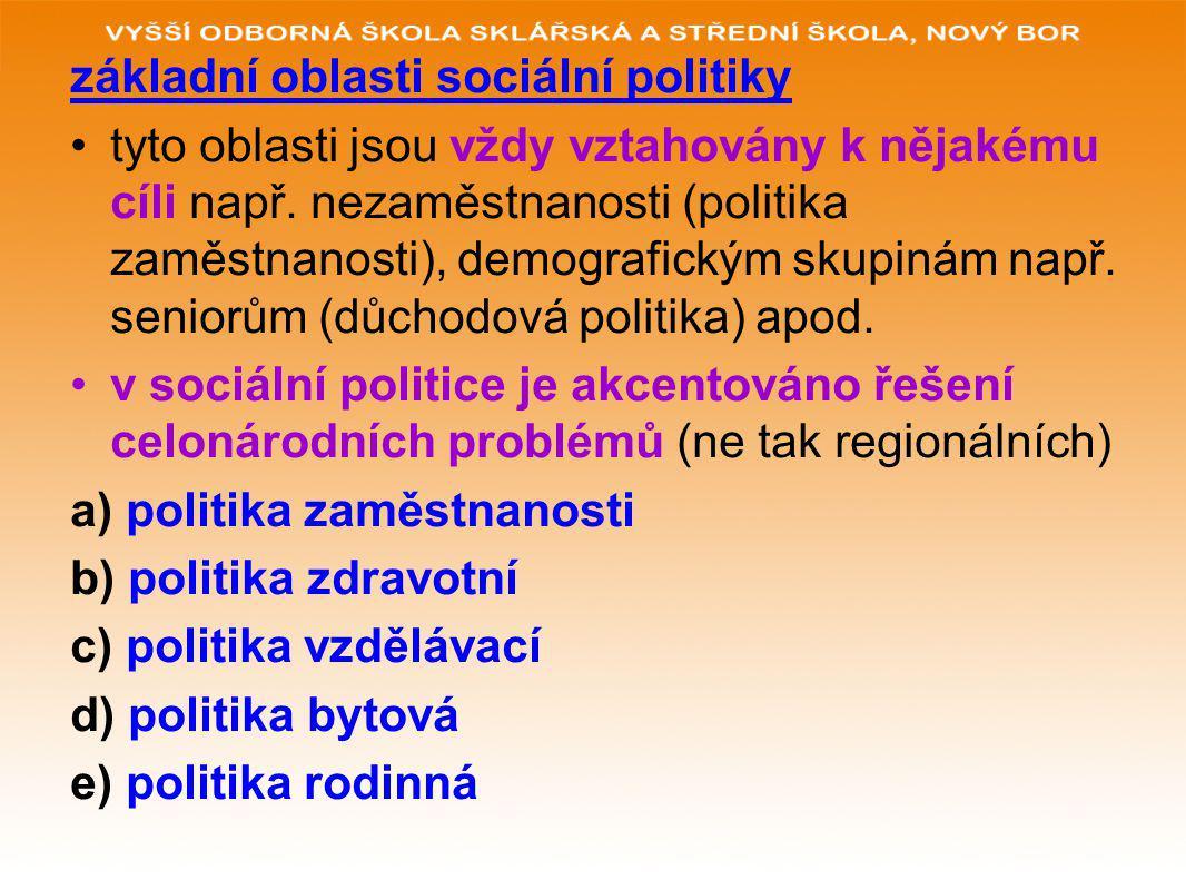 základní oblasti sociální politiky tyto oblasti jsou vždy vztahovány k nějakému cíli např.