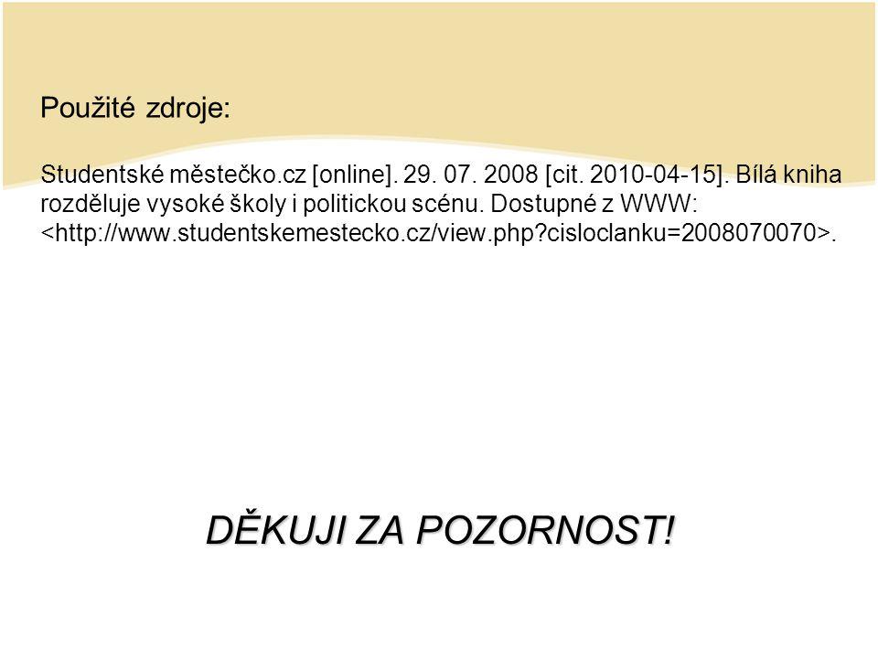 Použité zdroje: Studentské městečko.cz [online]. 29.