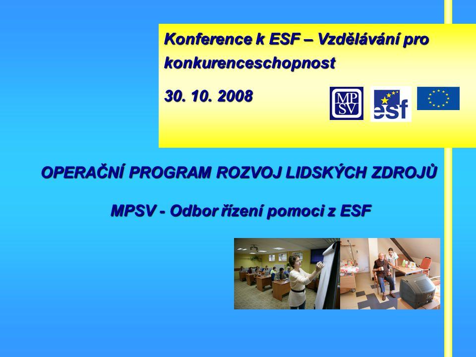 Operační program Rozvoj lidských zdrojů 1 OPERAČNÍ PROGRAM ROZVOJ LIDSKÝCH ZDROJŮ MPSV - Odbor řízení pomoci z ESF Konference k ESF – Vzdělávání pro konkurenceschopnost 30.
