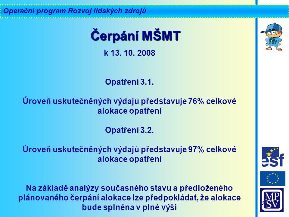 Operační program Rozvoj lidských zdrojů 3 k 13. 10.