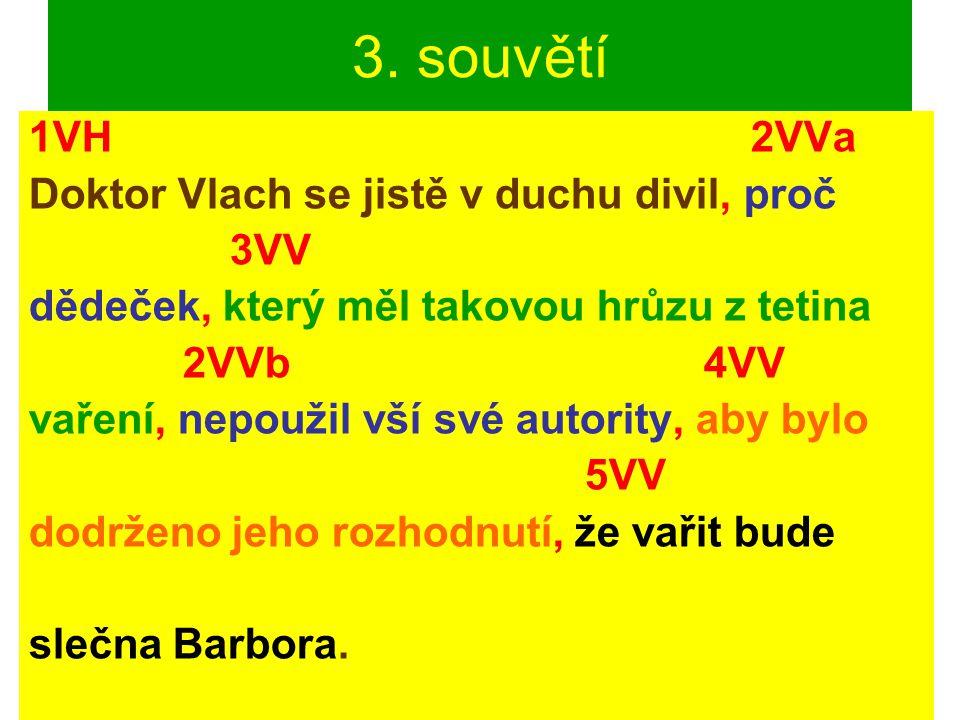 3. souvětí 1VH 2VVa Doktor Vlach se jistě v duchu divil, proč 3VV dědeček, který měl takovou hrůzu z tetina 2VVb 4VV vaření, nepoužil vší své autority