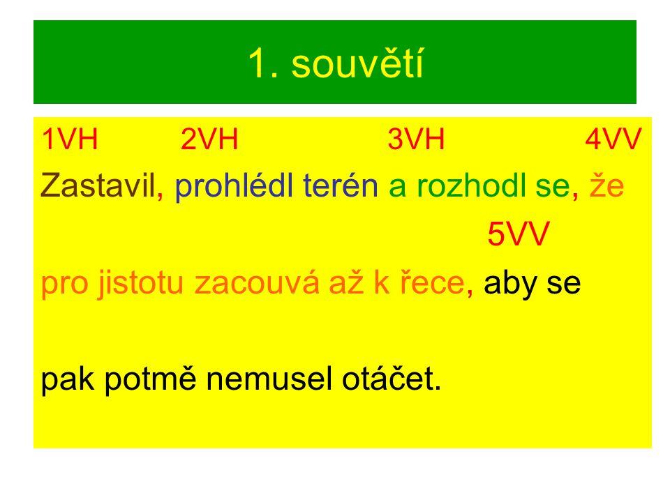 1. souvětí 1VH 2VH 3VH 4VV Zastavil, prohlédl terén a rozhodl se, že 5VV pro jistotu zacouvá až k řece, aby se pak potmě nemusel otáčet.