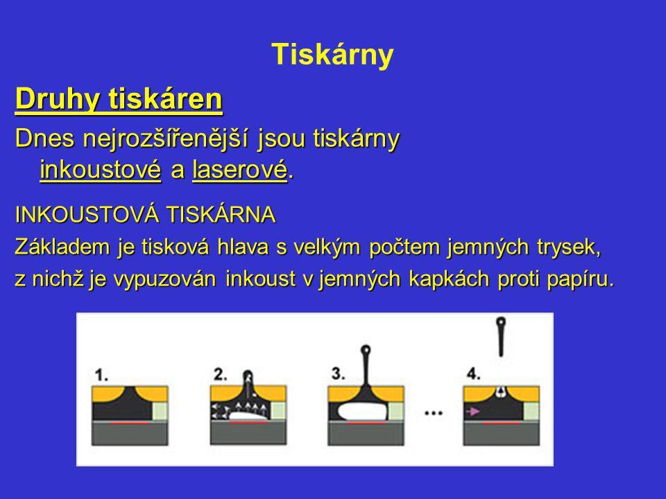 Tiskárny LASEROVÁ TISKÁRNA Základem je světlocitlivý válec, na který je laserem nakreslen výsledný obraz v podobě elektricky nabitých plošek.