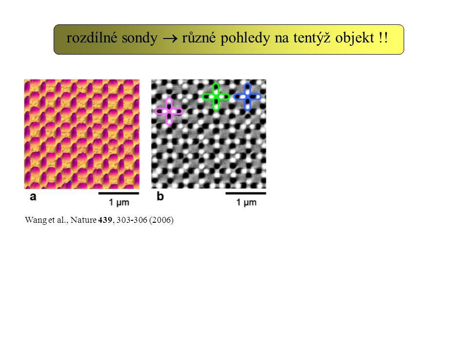 Wang et al., Nature 439, 303-306 (2006) rozdílné sondy  různé pohledy na tentýž objekt !!