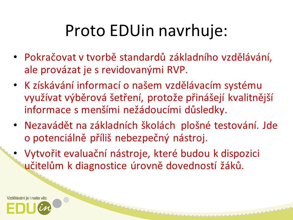 Proto EDUin navrhuje: Pokračovat v tvorbě standardů základního vzdělávání, ale provázat je s revidovanými RVP.