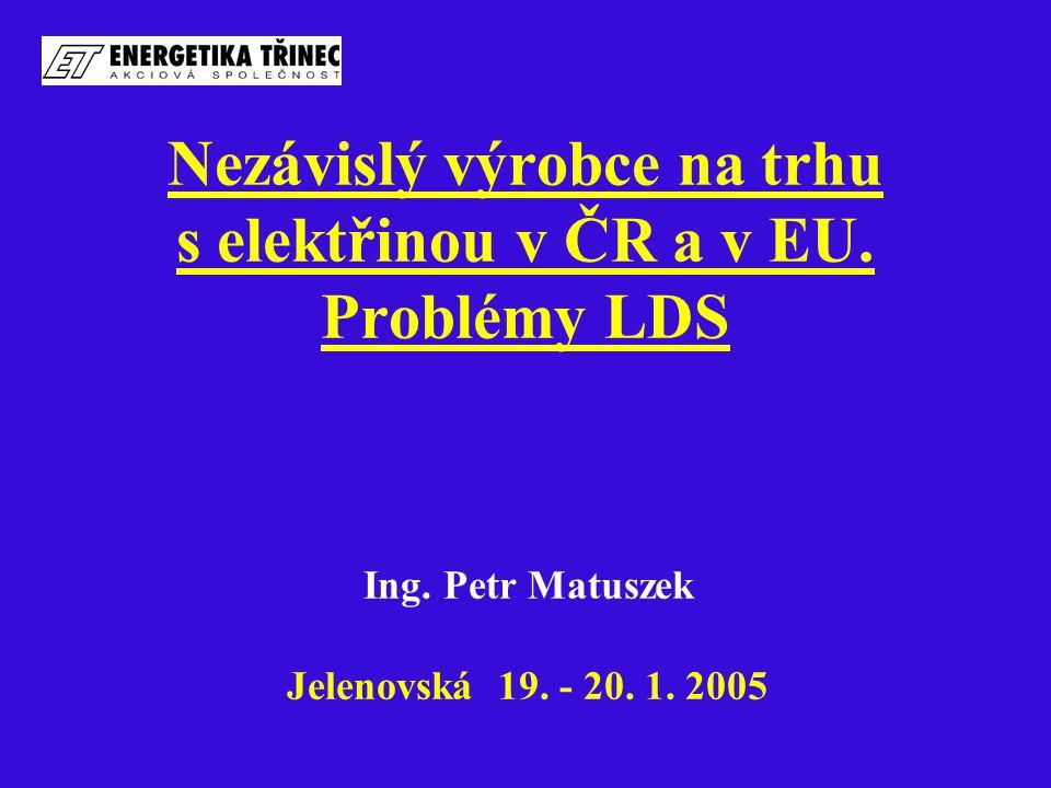 Nezávislý výrobce na trhu s elektřinou v ČR a v EU. Problémy LDS Ing. Petr Matuszek Jelenovská 19. - 20. 1. 2005