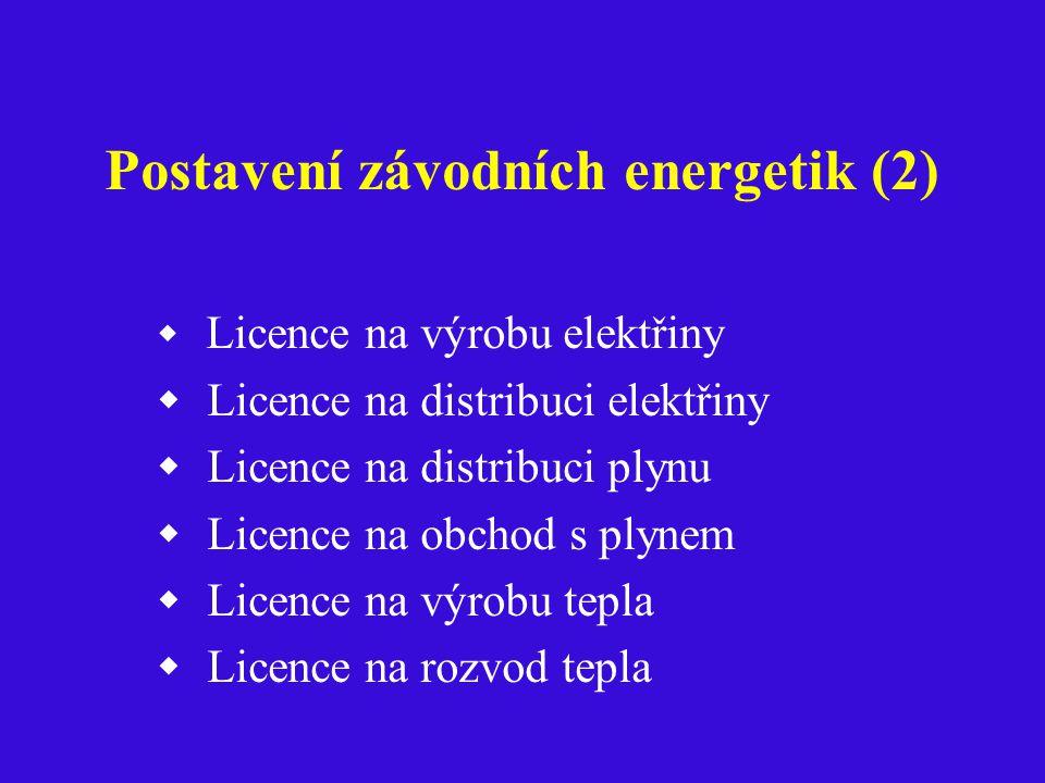 Postavení závodních energetik (2)  Licence na výrobu elektřiny  Licence na distribuci elektřiny  Licence na distribuci plynu  Licence na obchod s plynem  Licence na výrobu tepla  Licence na rozvod tepla