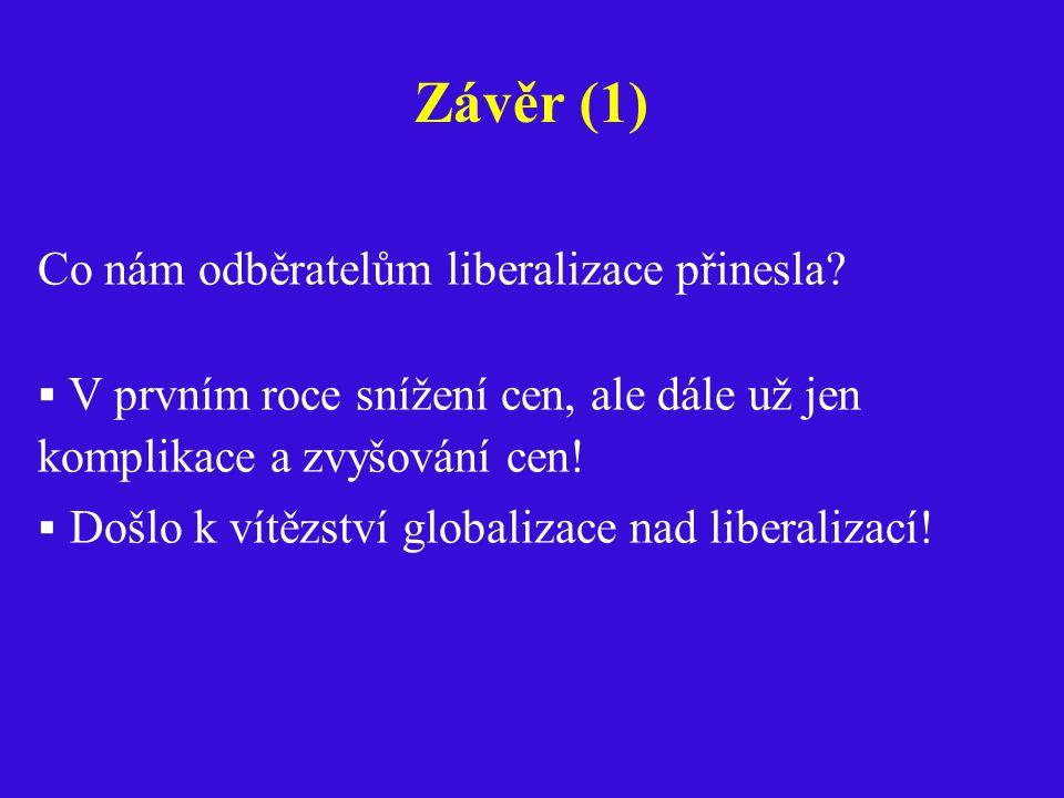 Závěr (1) Co nám odběratelům liberalizace přinesla.