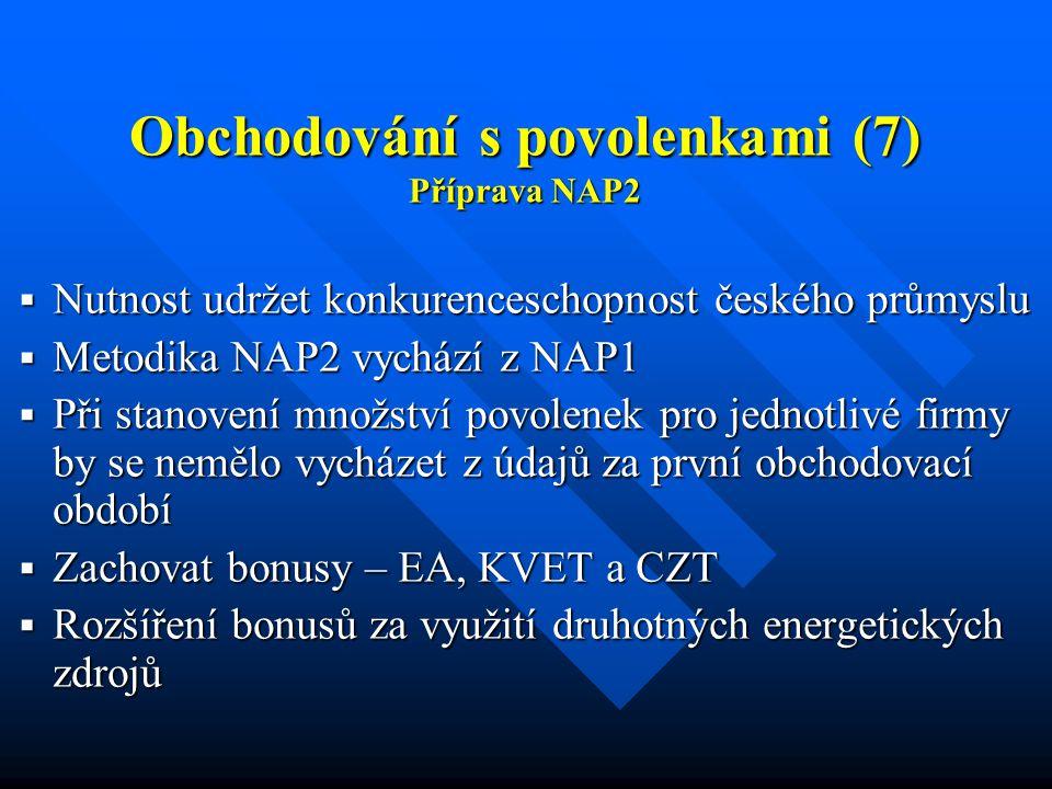 Obchodování s povolenkami (7) Příprava NAP2  Nutnost udržet konkurenceschopnost českého průmyslu  Metodika NAP2 vychází z NAP1  Při stanovení množství povolenek pro jednotlivé firmy by se nemělo vycházet z údajů za první obchodovací období  Zachovat bonusy – EA, KVET a CZT  Rozšíření bonusů za využití druhotných energetických zdrojů