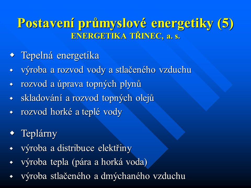 Postavení průmyslové energetiky (5) ENERGETIKA TŘINEC, a.