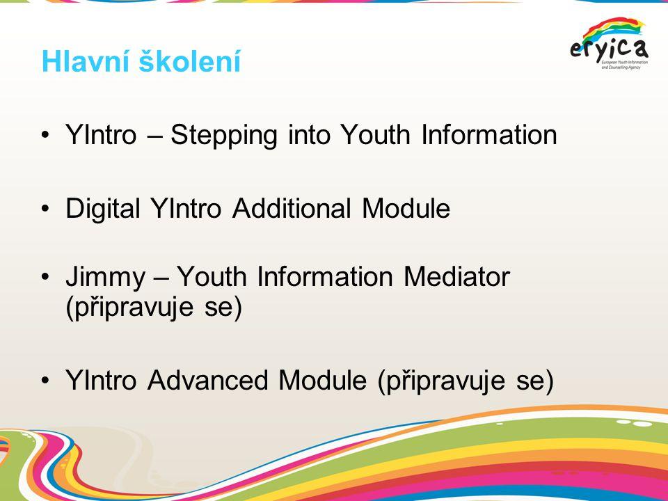 Hlavní školení YIntro – Stepping into Youth Information Digital YIntro Additional Module Jimmy – Youth Information Mediator (připravuje se) YIntro Advanced Module (připravuje se)