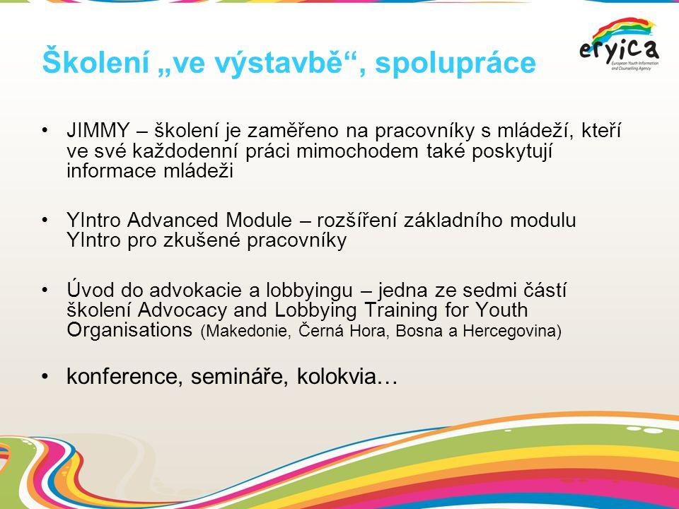 """Školení """"ve výstavbě , spolupráce JIMMY – školení je zaměřeno na pracovníky s mládeží, kteří ve své každodenní práci mimochodem také poskytují informace mládeži YIntro Advanced Module – rozšíření základního modulu YIntro pro zkušené pracovníky Úvod do advokacie a lobbyingu – jedna ze sedmi částí školení Advocacy and Lobbying Training for Youth Organisations (Makedonie, Černá Hora, Bosna a Hercegovina) konference, semináře, kolokvia…"""