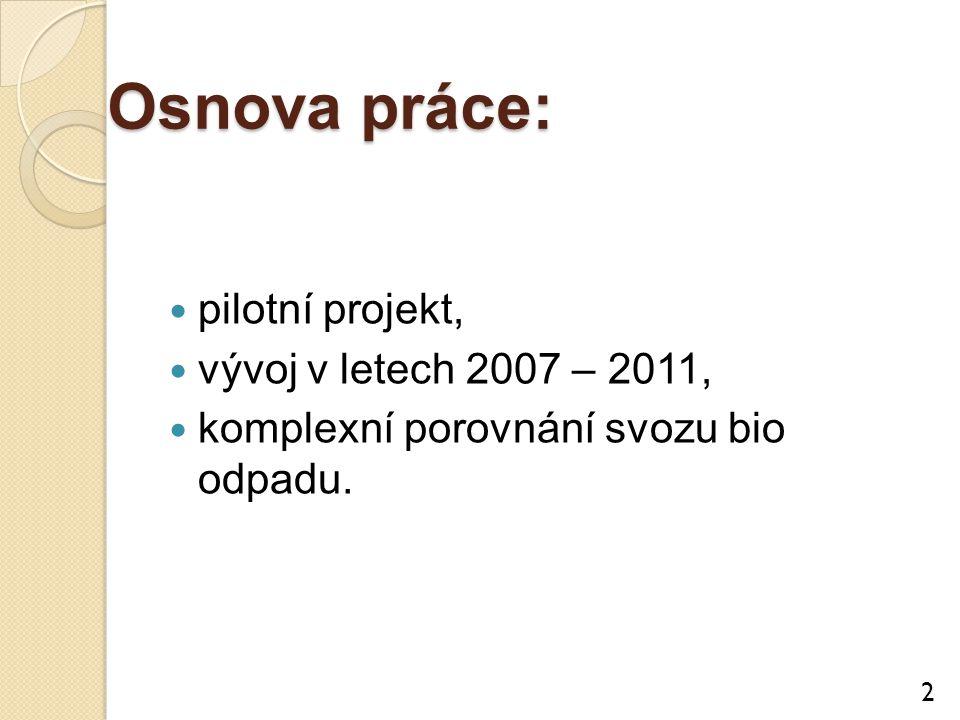 Osnova práce: pilotní projekt, vývoj v letech 2007 – 2011, komplexní porovnání svozu bio odpadu. 2