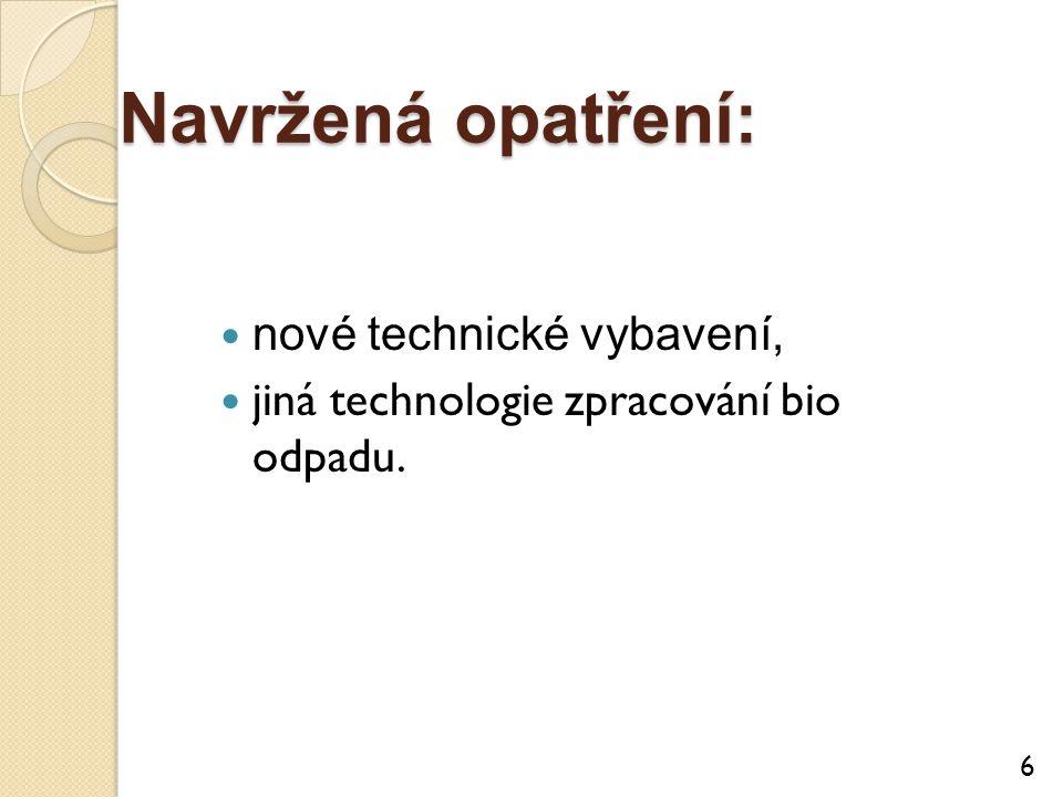 Navržená opatření: nové technické vybavení, jiná technologie zpracování bio odpadu. 6