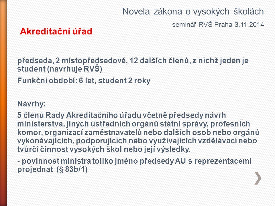 předseda, 2 místopředsedové, 12 dalších členů, z nichž jeden je student (navrhuje RVŠ) Funkční období: 6 let, student 2 roky Návrhy: 5 členů Rady Akre
