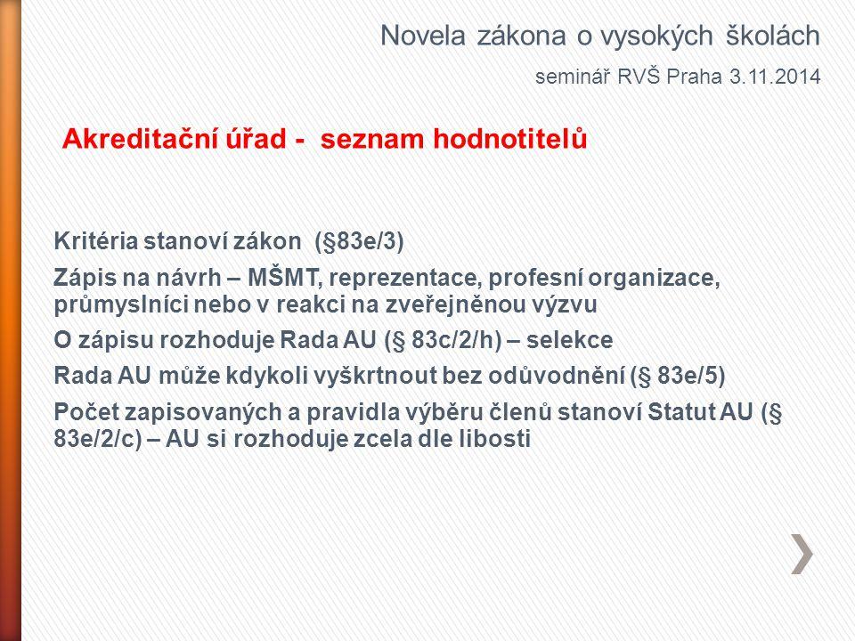 Kritéria stanoví zákon (§83e/3) Zápis na návrh – MŠMT, reprezentace, profesní organizace, průmyslníci nebo v reakci na zveřejněnou výzvu O zápisu rozh