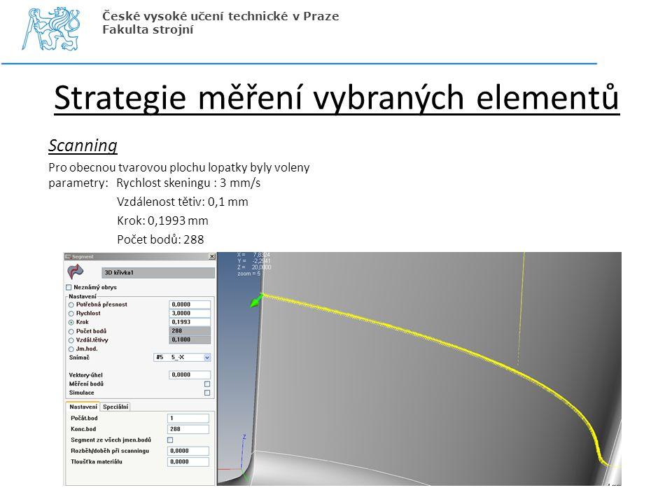 Strategie měření vybraných elementů Scanning Pro obecnou tvarovou plochu lopatky byly voleny parametry: Rychlost skeningu : 3 mm/s Vzdálenost tětiv: 0