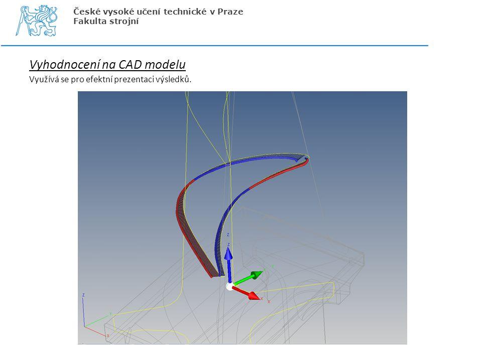 Vyhodnocení na CAD modelu Využívá se pro efektní prezentaci výsledků. České vysoké učení technické v Praze Fakulta strojní