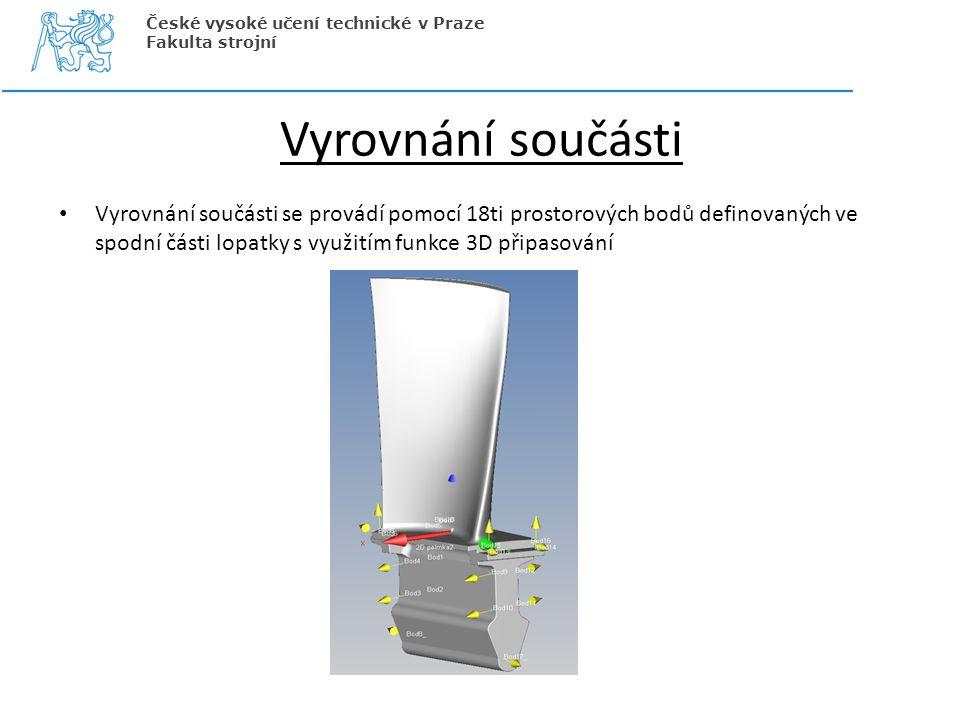 Vyrovnání součásti Vyrovnání součásti se provádí pomocí 18ti prostorových bodů definovaných ve spodní části lopatky s využitím funkce 3D připasování Č